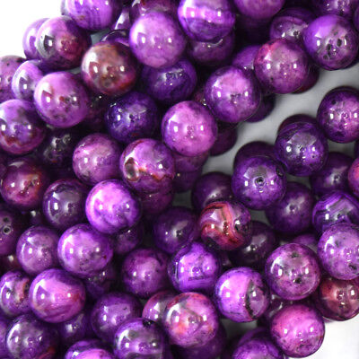 Crazy Agate Beads - Purple Crazy Lace Agate Round Beads Gemstone 15.5