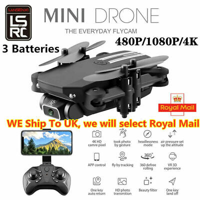 Drone x pro 1080P 4K HD Camera Wifi APP FPV Foldable Wide-Angle 3 Batteries ≛ ⌘