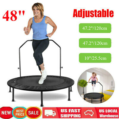 """48"""" Fitness Trampoline Mini Rebounder Workout Exercise With Adjustable Handrail"""