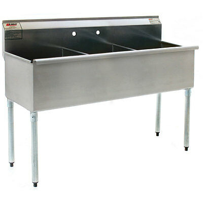 Eagle Group Stainless Steel Utility Sink 12in X 21in 3 Compartment