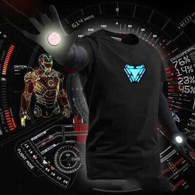 LED Iron Man Tony Stark Arc Reactor T-shirt Light Up Costume Cosplay