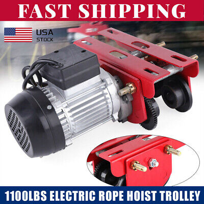 Industrial 4ft Lifting Cranes Electric Wire Rope Hoist Trolley 1100lbs