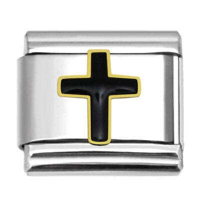 - Black Cross 9mm Stainless Steel Charm Link for Italian Charms Bracelets BC3001