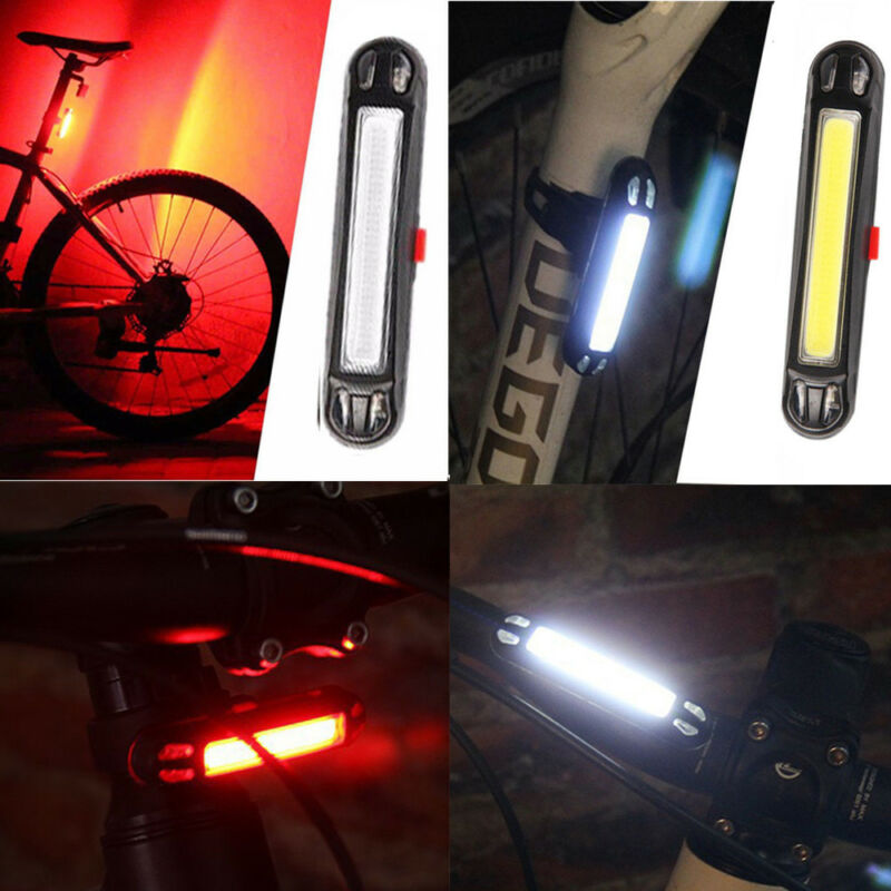 COB LED Bicycle Cycling Headlight Front Rear Tail Light Lamp USB Rechargeable