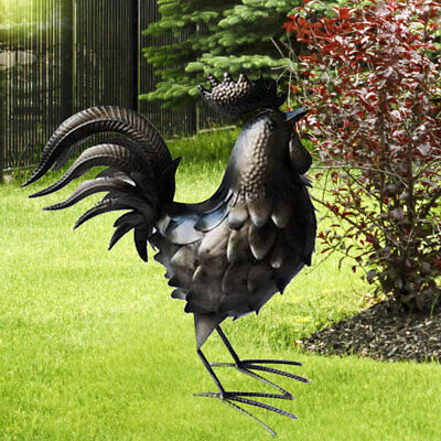 Exterior Figura Gallo Plata Antiguo Jardín Hof Decoración Escultura Pollo Pájaro