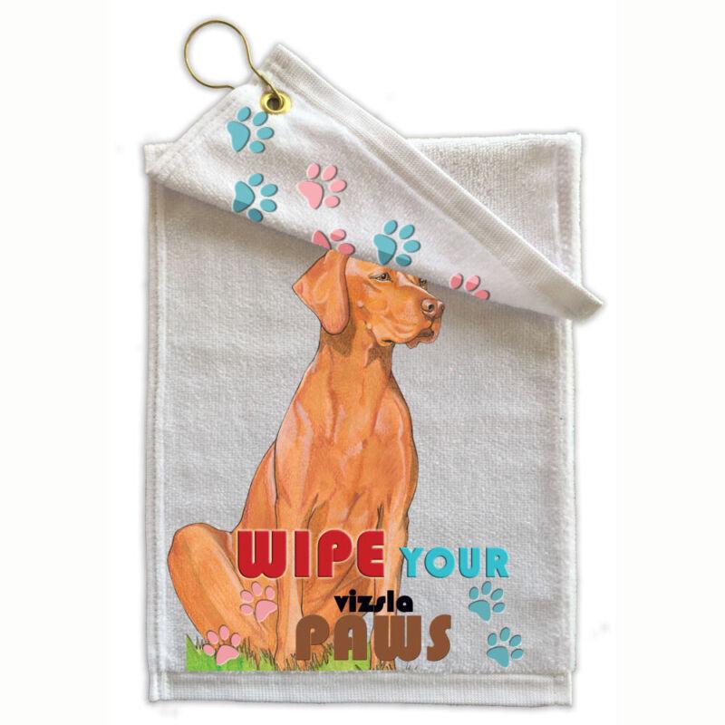 "Vizsla Paw-Wipe Towel 11"" x 18"" Grommet with Hook"