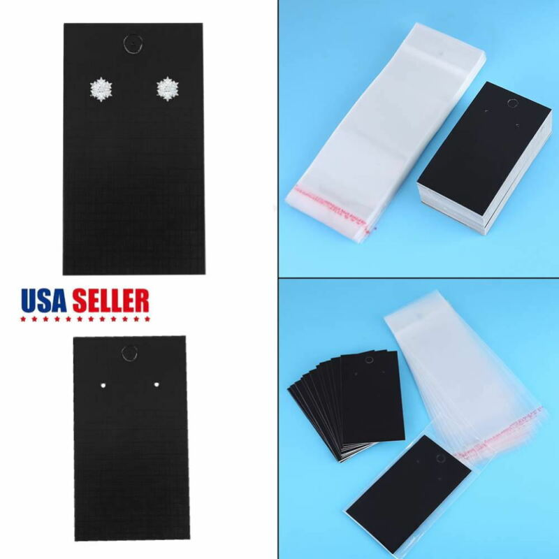 100pcs Display Cards With Self Adhesive Bags for Jewelry Display Earring Hanging