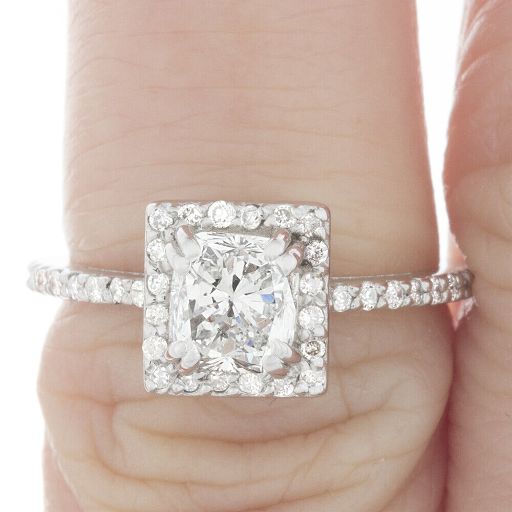 GIA Certified Diamond Engagement Ring 1.20 CTW Natural Cushion 18k White Gold