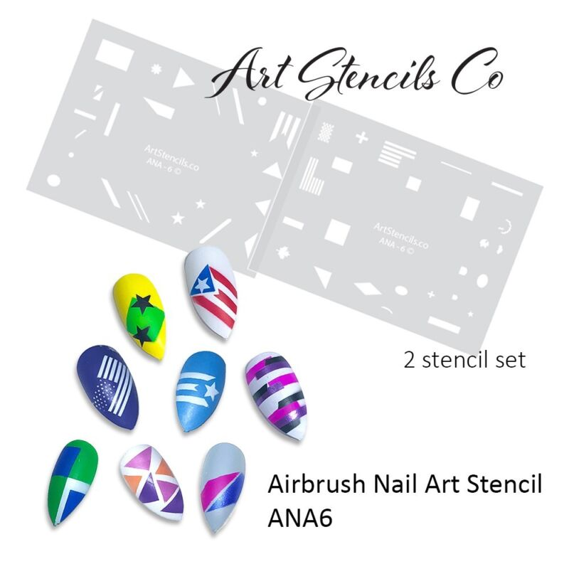 Airbrush Nail Art Stencil Color Block Style & Flag Shapes ANA6 - 2 Stencil Set