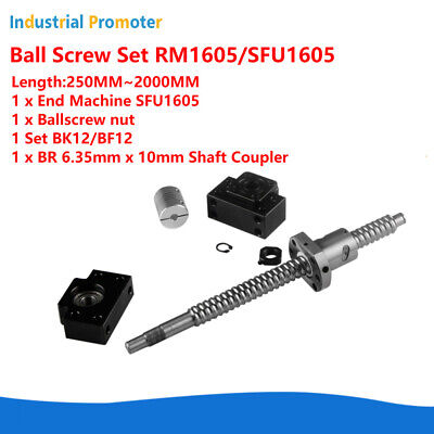 Ball Screw Sfu1605 Rm1605 16mm L250mm-2000mm W Nutbkbf12 End Supports Coupler
