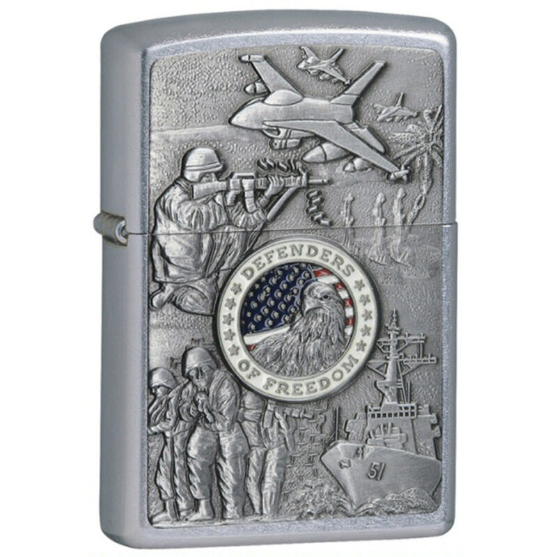 Zippo Joined Forces Emblem Satin Chrome Lighter 24457