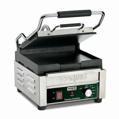 Waring Wfg150 Single Commercial Panini Press W Cast Iron Smooth Plates 120v