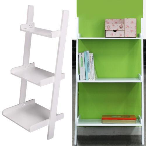 3 tier wooden wall rack leaning ladder shelf unit bookcase. Black Bedroom Furniture Sets. Home Design Ideas