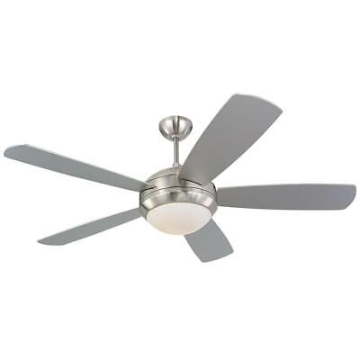 """New Monte Carlo 5DI52BSD-L Discus 52"""" Ceiling Fan Brushed Steel Finish"""