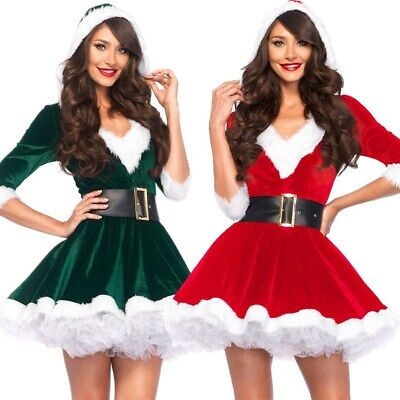 Miss Claus Dress (Miss Santa Outfit Adult Mrs Claus Christmas Costume Fancy Dress Xmas Red)
