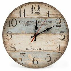 Coastal Decor Wall Clock 11.81 Beach Lighthouse Nautical Distressed Shabby Chic
