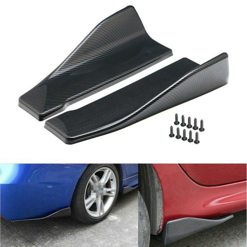 1 Pair Black Front Rear Bumper Lip Splitters Winglets Canards ABS Universal LIK