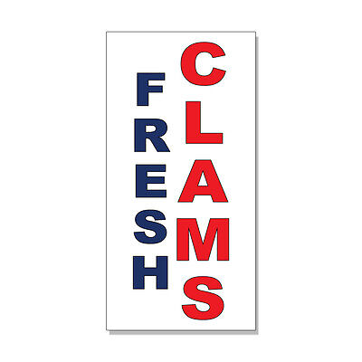 (Fresh Clams Blue Red Food Bar Restaurant Food Truck DECAL STICKER Store Sign)