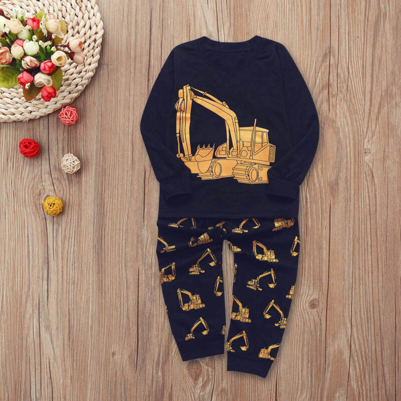 Baby Clothes Toddler Boy Long Sleeves Cool Tractor Print Top