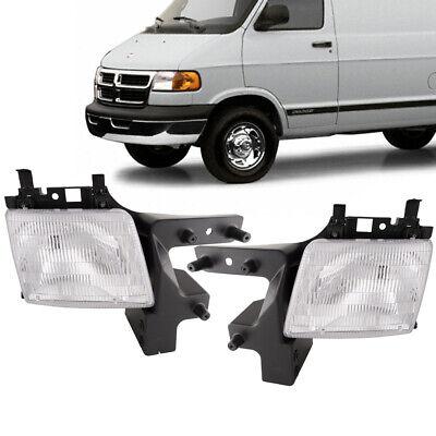 Fits 98-03 Dodge Ram Van Replacement Headlights Chrome Halogen Pair New