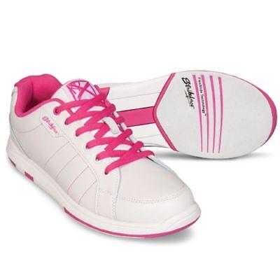 KR Strikeforce Satin White/Pink Womens Bowling Shoes ()