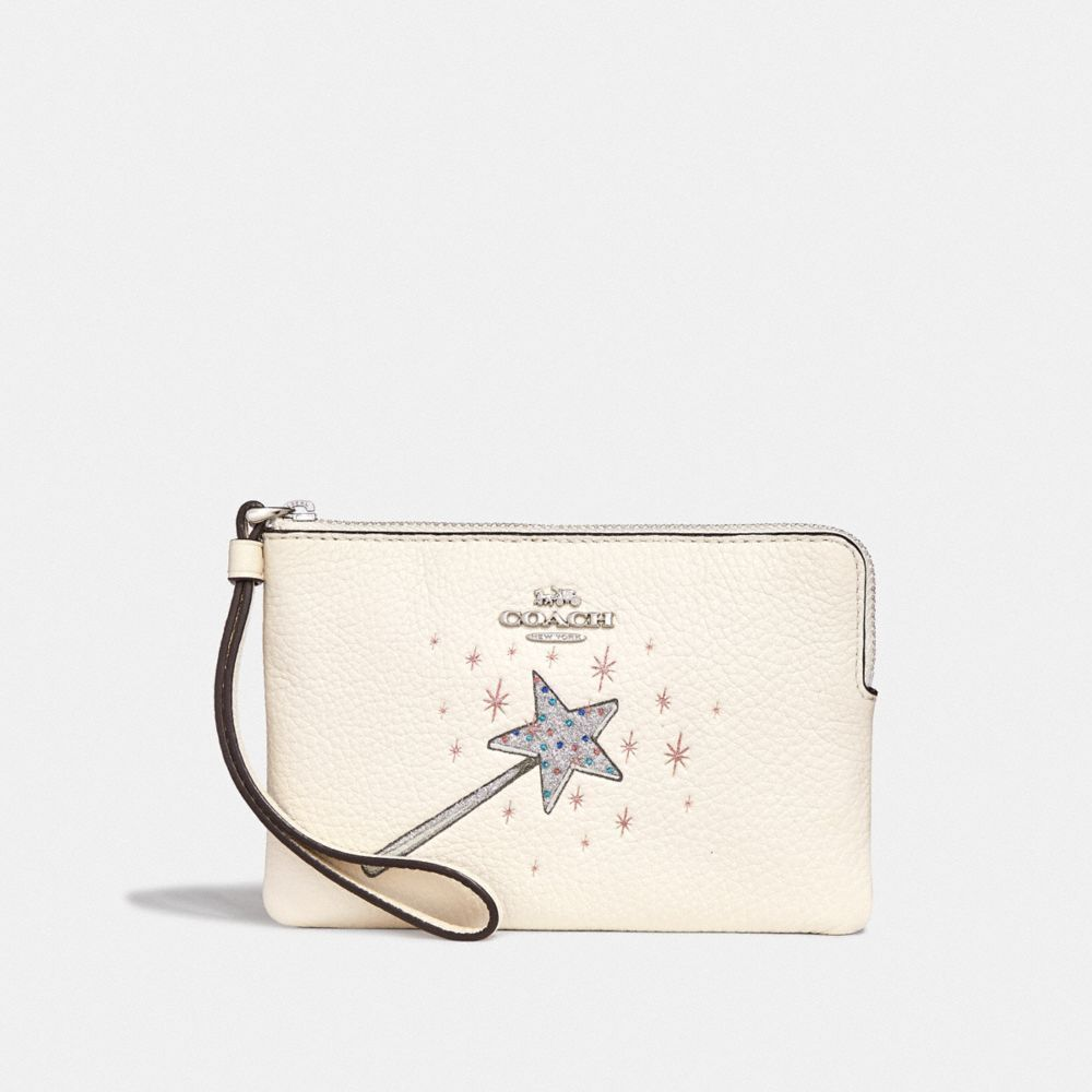 New Coach F58032 F58035 Corner Zip Wristlet With Gift Box New With Tags Chalk Wand Pebble Leather