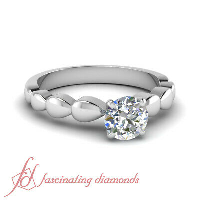 1/2 Ct Round Cut Conflict Free Diamond Solitaire Engagement Ring F-Color 14K GIA