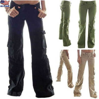 Women Straight Cargo Pants Ladies Girls Outdoor Sport Army Multi-Pocket - Army Girls