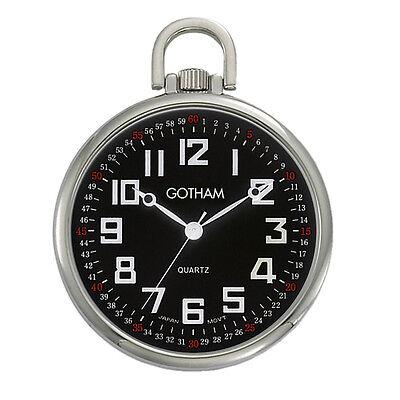 Gotham Men's Silver-Tone Slim Railroad Open Face Quartz Pocket Watch #GWC15022SB