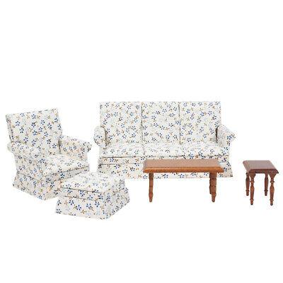 Dollhouse Living Room Furniture Set 5pcs Couch Armchair Ottoman And 2 Tables  Dollhouse Living Room Set