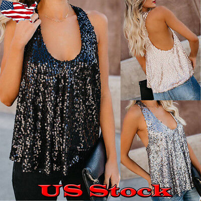 Sequin Tank Top Blouse Women's Paillette Camisole Bling Sleeveless Vest Tops USA