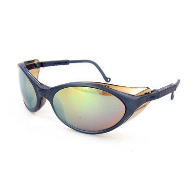 Uvex Bandit S1624 Safety Glasses Gold Mirror Hardcoat Lens With Slate Blue Frame