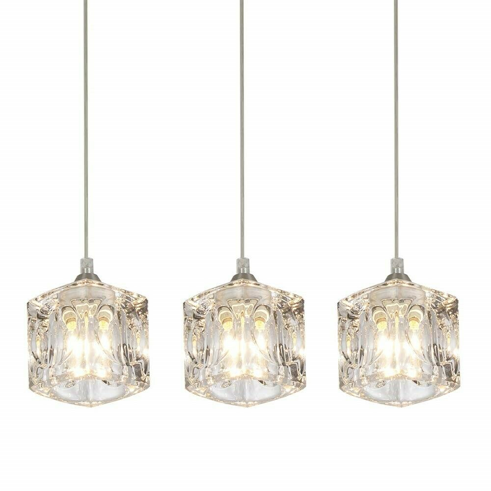 Kitchen 3 Pendant Lighting Fixture Modern Crystal Hanging Ce