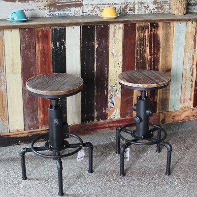 2X Retro Barhocker Küche Speisezimmer Stuhl Höhe Einstellbare Swivel Metal G4Q0