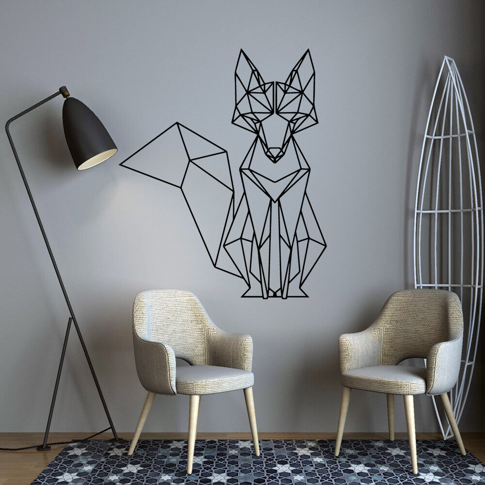 Home Decoration - Nordic Geometric Fox Vinyl Wall Stickers Decals For Kids Rooms Home  Decor