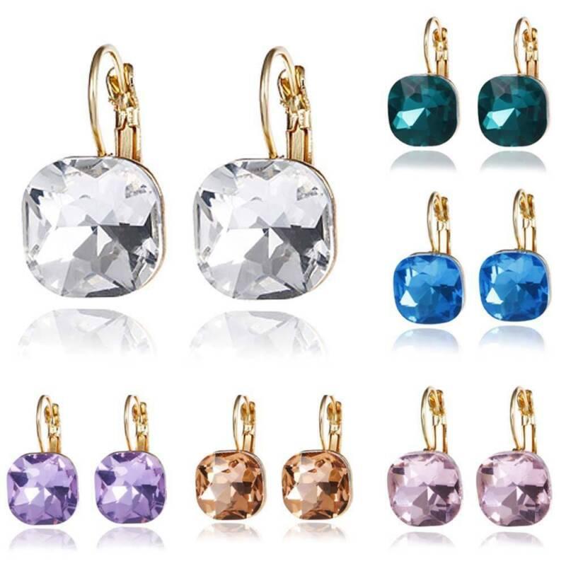 Women Crystal Square Drop Earrings Fashion Jewelry Girls Ear