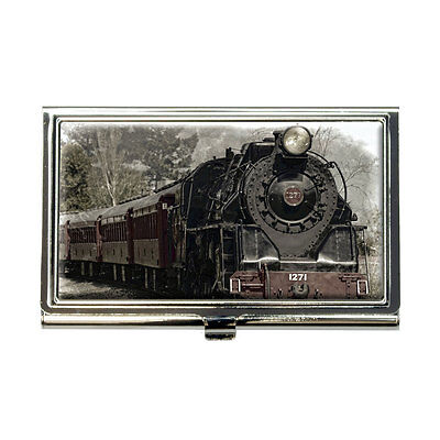 Steam Locomotive Train Railway Railroad Business Credit Card Holder Case