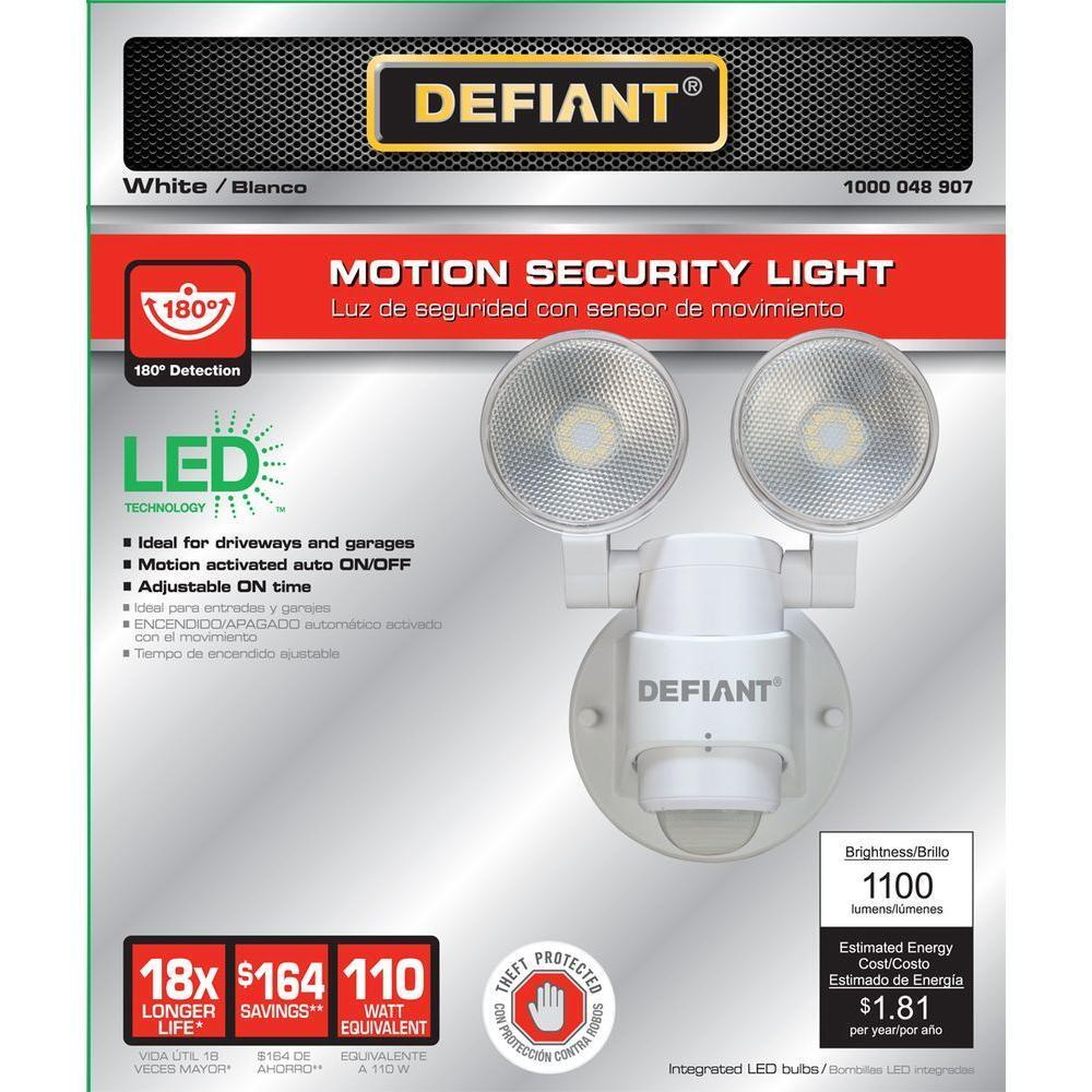 LED Motion Sensor Security Light By Defiant | 180 Degree 180