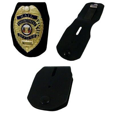 Universal Fit Law Enforcement Clip Belt Clip Badge Holder Heavy Gauge Leather
