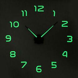 Large Luminous 3D DIY Wall Clock Glow In The Dark Quartz Home Decor Night Clocks