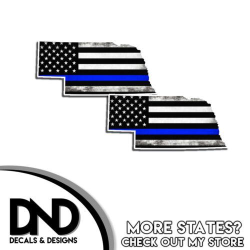 Nebraska HELMET Decal Police Blue Line NE Tattered American Flag Sticker 4 Pack