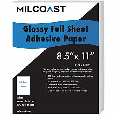 Shipping Labels Full Sheet 8.5 11 Sticker Paper Adhesive Glossy Water Resistant