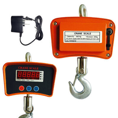 1100lbs 500kg Digital Crane Hanging Scale Heavy Duty Industrial Wled Display