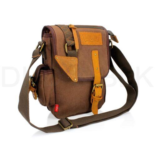 US Men's Vintage Canvas Leather Messenger Shoulder Bag Military Travel Satchel