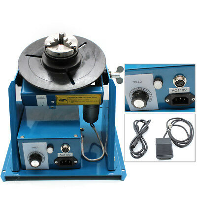110v Rotary Welding Positioner Turntable Table Mini Jaw Lathe Chuck 2-10 Rmin