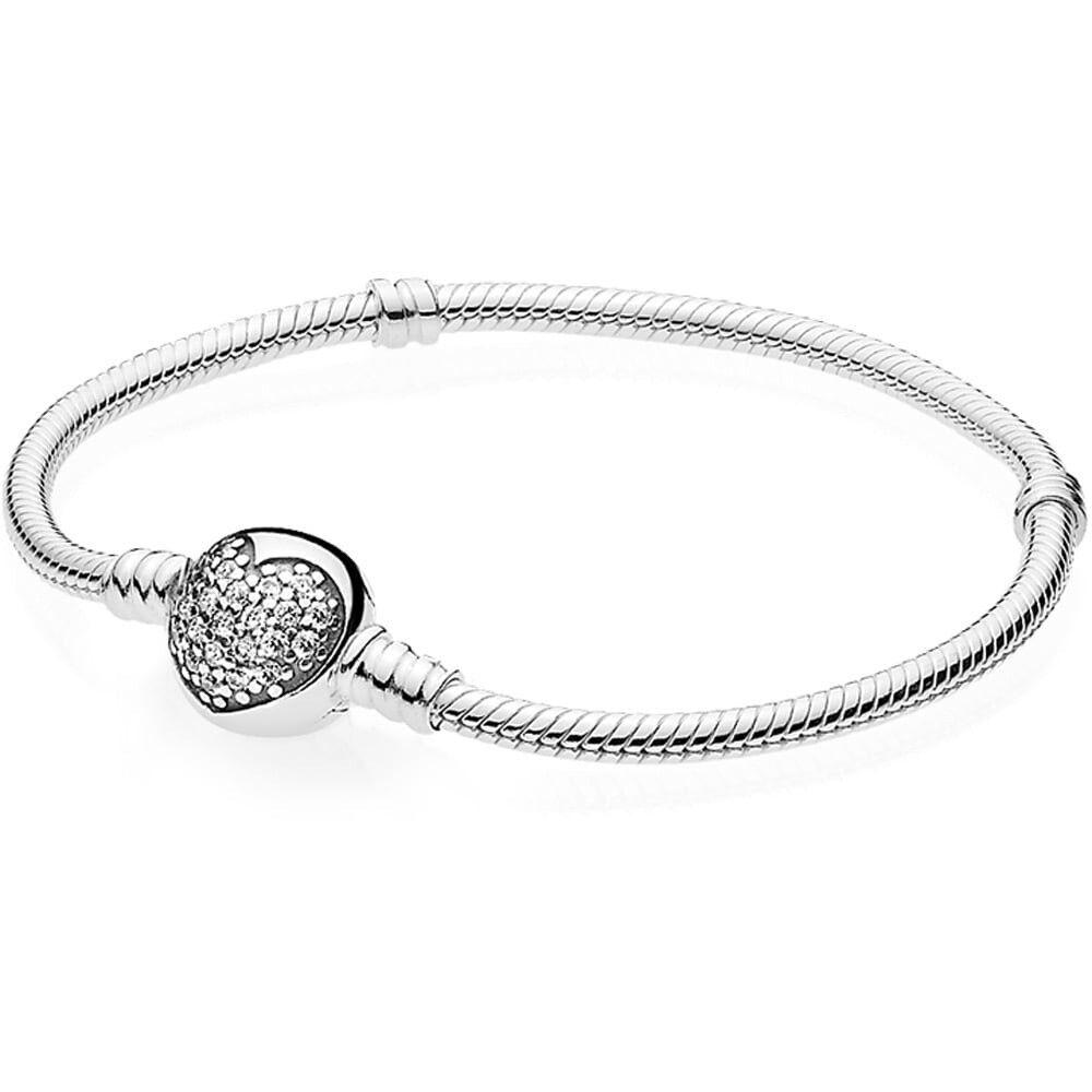 PANDORA Moments Silver Bracelet with Sparkling Heart Clasp 19cm - RRP £ 60