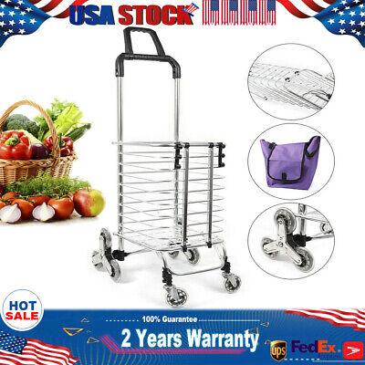 Light 35l Folding Shopping Cart Stair Dual-use Pull Bag Stainless Steel Frame