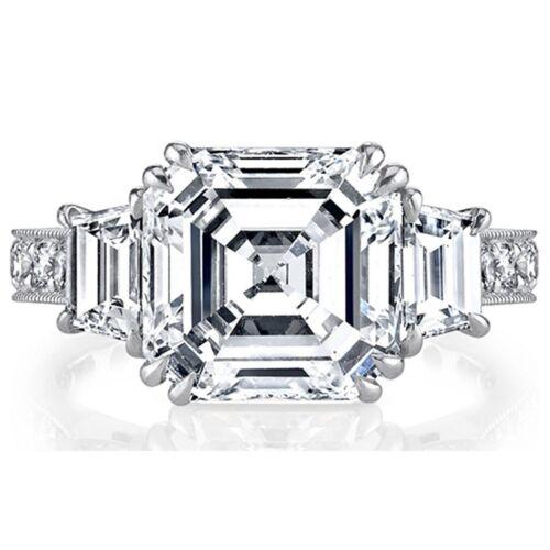 GIA Certified 2.00 CT Asscher Round & Trapezoid Diamond Engagement Ring Platinum