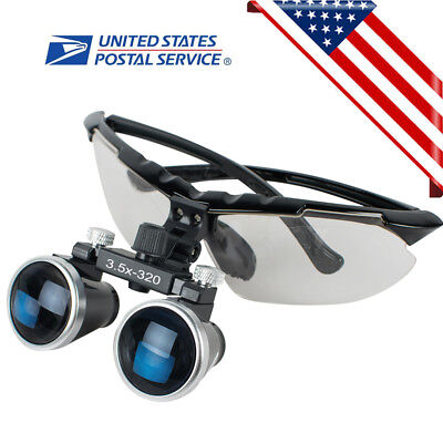 Black Dental Surgical Medical Binocular Loupes 3.5x320mm Optical Glass Magnifier