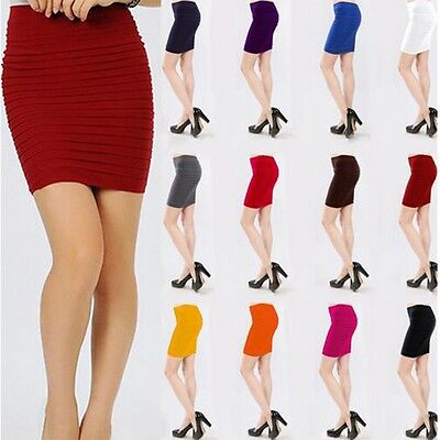 Elastic Pleated Skirt High Waist Bodycon Skirts Mini Skirt Short Pencil Skirts